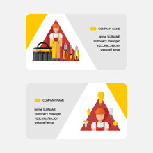 Electricity Vector Business Card Electrician Character Power Electrical Socket Bulbs Energy Of Solar Panels Illustration Backdrop Industrial Electric Plugs And Tools Pliers Business-card Background