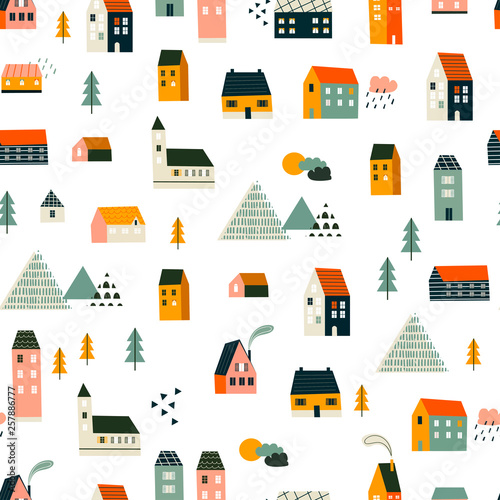 Various small tiny houses, trees and mountains. Paper cut style. Flat design. Hand drawn trendy illustration. Big colored vector seamless pattern Wall mural