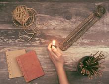 Woman Hand Lights A Incense St...