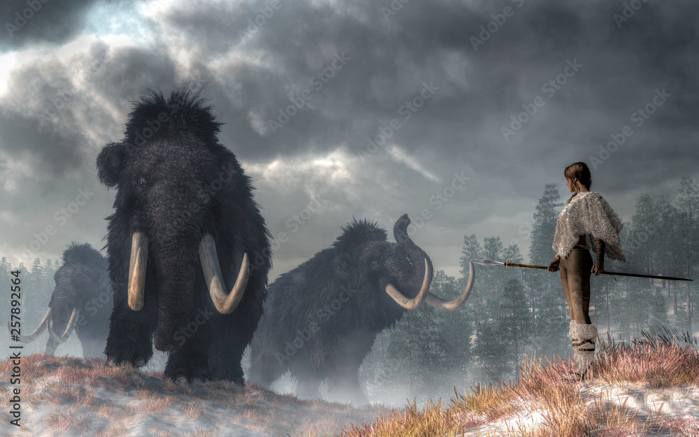 Fototapety, obrazy: In a prehistoric wilderness, a woman faces the Gods of Winter.  Three woolly mammoths emerge from the cold Pleistocene mists. The woman, dressed in white fur, holds a spear at her side. 3D Rendering