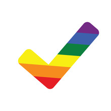 Rainbow Check Mark Icon Isolated On White Background. Tick Symbol In Six Rainbow Colors, Vector Illustration. LGBT Community And Pride Symbol. Same-sex Marriage Allowance Concept.