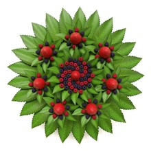 Organic Fractal Of Fresh Leaves And Forest Fruits. Circular Composition Of Strawberries, Blueberries And Raspberries.