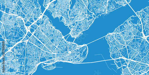 Urban vector city map of Istanbul, Turkey Canvas Print