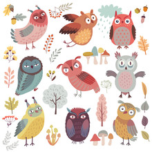 Cute Woodland Owls. Funny Characters With Different Mood. Vector Illustration.