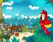 Cartoon scene of beach near the sea or ocean - parrot bird - illustration for children