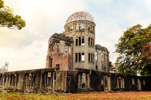 Vászonkép View of The Atomic Bomb Dome in Autumn season, Part of the Hiroshima Peace Memorial in Hiroshima, Japan