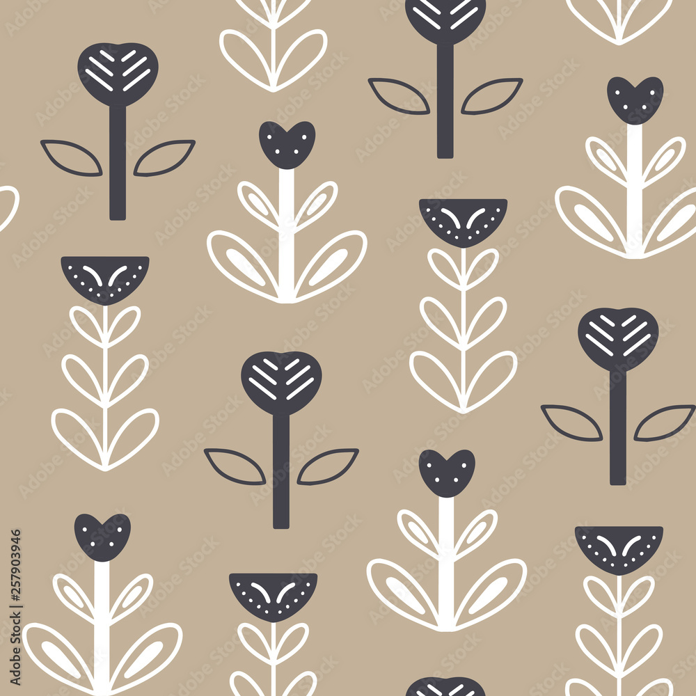 Scandinavian style seamless pattern with hand drawn floral elements on white background. Cute print in modern style. Ornamental, folk, simple.