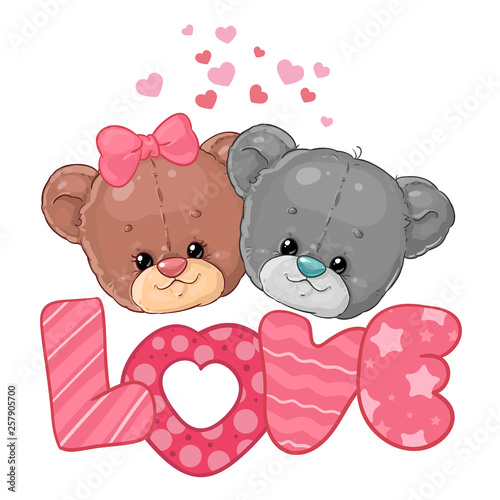 Photo  Teddy bears on the background of the word LOVE with hearts