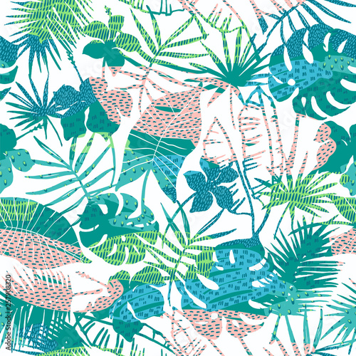 Fototapety, obrazy: Seamless exotic pattern with tropical plants. Vector background.