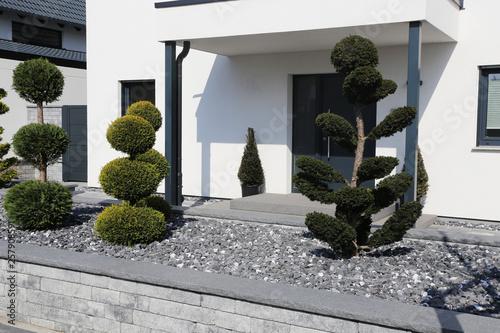 Photo sur Aluminium Gris Wohnhaus mit gepflegtem und modernem Vorgarten
