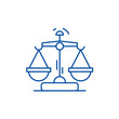 Law and justice line concept icon. Law and justice flat vector website sign, outline symbol, illustration.