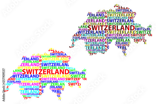 Valokuva  Sketch Switzerland letter text map, Swiss Confederation - in the shape of the co