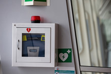 Defibrillator Attached To The Wall At The Airport