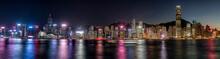 Hong Kong, Tsim Sha Tsui, Panorama Cityscape At Night