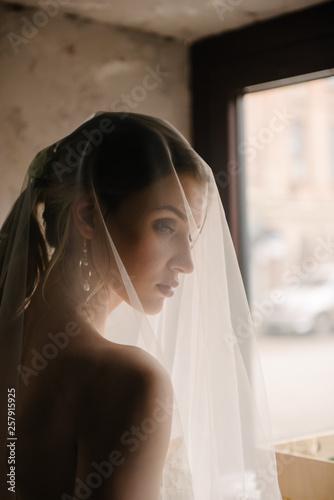 Obraz na płótnie Bride posing close up in a veil