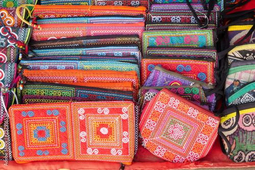 Fotografiet  woven bag handcrafted , unique texture pattern design asian style