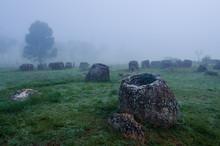 A Field Of Jars In Phonsavann,...