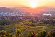 Germany, Baden-Wuerttemberg, Stuttgart Untertuerkheim And Bad Cannstatt, Industry, Mercedes Benz Factory, Mercedes Benz Arena, Vineyards In Autumn At Sunset
