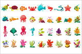 Fototapeta Fototapety na ścianę do pokoju dziecięcego - Sea creature big set, colorful cartoon ocean animals, plants and fishes vector Illustrations on a white background