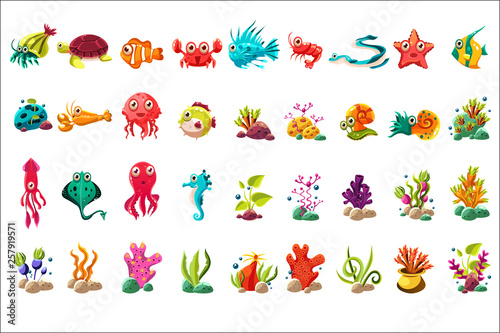 Leinwand Poster Sea creature big set, colorful cartoon ocean animals, plants and fishes vector I