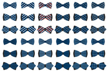 Illustration On Theme Big Set Ties Different Types, Bowties Various Size