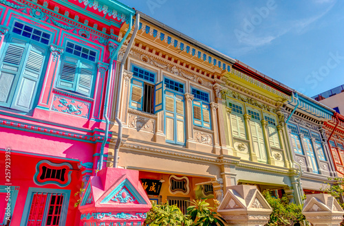 Foto auf AluDibond Gezeichnet Straßenkaffee Historical buildings in Joo Chiat Road, Singapore