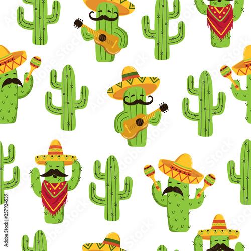 Mexican cactus seamless pattern Fototapeta