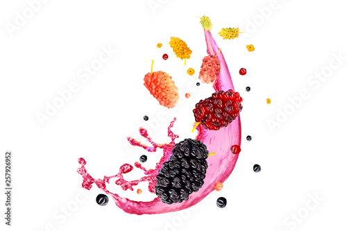 Photo  mulberry and fresh mulberry juice isolated on white background