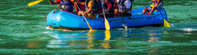 Rafting. Close-up View Of Oars While Paddling  In River Ganges Rishikesh, India- Image