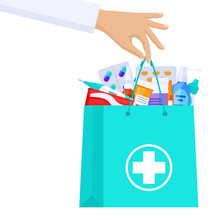 Pharmacist Or Doctor Hand Holding A Package With Pills, Medical Equipment, Drugs. Flat Vector Illustration.