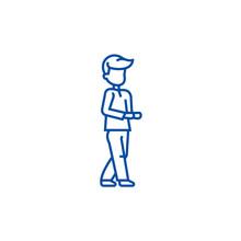 Going Man  Line Concept Icon. Going Man  Flat  Vector Website Sign, Outline Symbol, Illustration.