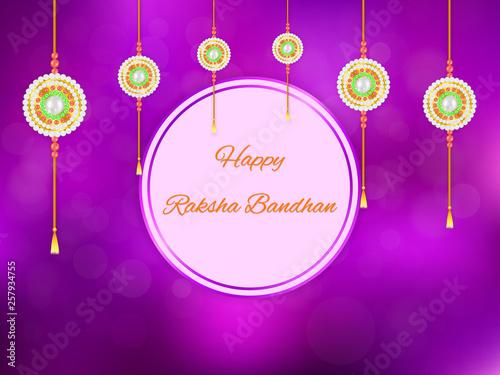 Foto  Happy Raksha Bandhan card design with hanging beaded golden rakhi