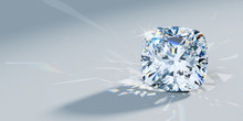 Close-up Cushion Cut Diamond With Caustics Rays On Light Blue Background