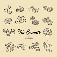 Biscuits Isolated Hand Drawn V...