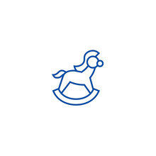 Horse Toy Line Concept Icon. H...