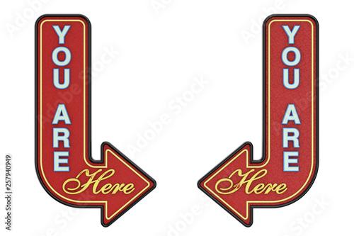 Fotografía  Vintage Rusty Metal You Are Here Arrow Sign. 3d Rendering
