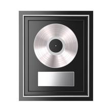 Platinum Or Silver Vinyl Or CD Prize Award With Label In Black Frame. 3d Rendering