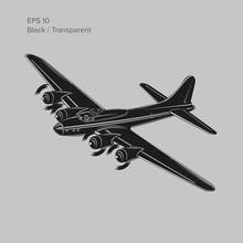 Vintage World War 2 Legendary Heavy Bomber. Old Retro Piston Engine Propelled Heavy Aircraft. Vector Illustration