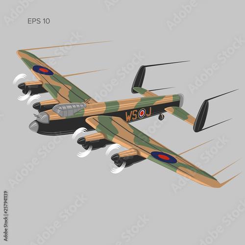 Cuadros en Lienzo Vintage bomber vector illustartion