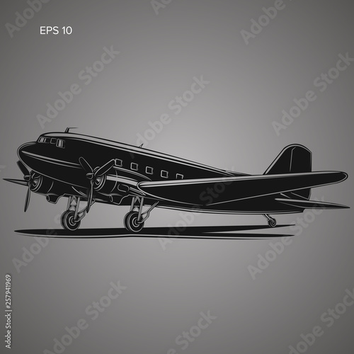 Photo  Old vintage piston engine airliner. Retro aircraft icon