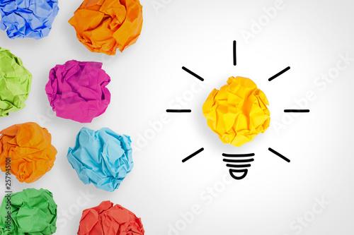 Fototapeta Idea Concepts Light Bulb with Crumpled Paper on White Background obraz na płótnie