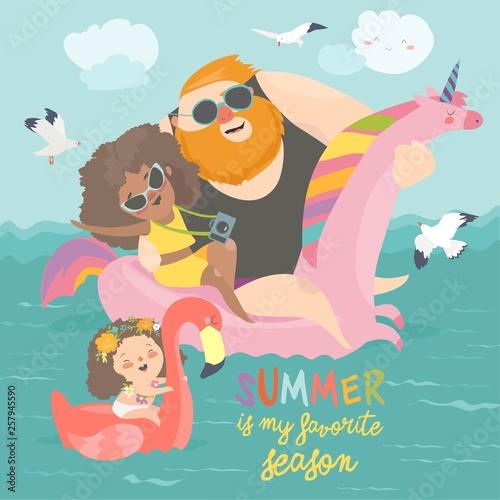 Sea time. Cute family enjoy summer vacation at the sea