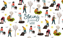 People Working In The Garden Over Planting, Developing The Land And Treating Trees From Pests. Vector Illustration
