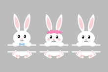 Happy Easter Bunny - Vector Illustration. Cute Bunny Split Monogram. White Rabbit Isolated. Cartoon
