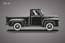 Old Retro Pickup Truck Vector ...