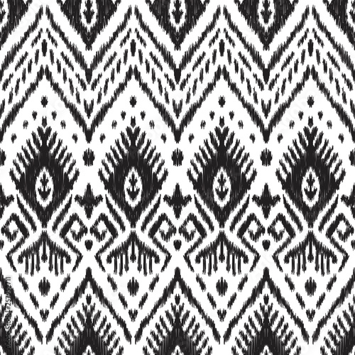 In de dag Boho Stijl Black and white seamless background. Ethnic ikat ornament. Vector illustration. Tribal pattern. Can be used for textile, wallpaper, wrapping paper, greeting card backdrop, print.