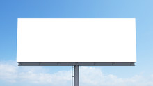 Mockup Blank Billboard White Space On Bluesky Background, 3d Rendering.