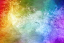 Abstract Fantastic Image With Heavenly Light And Rainbow Colored Smoke