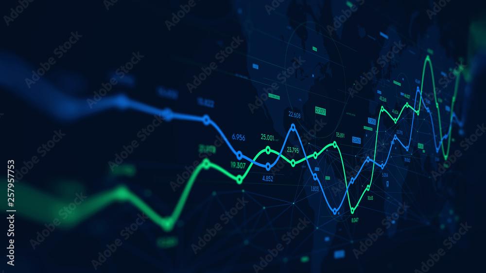 Fototapeta Digital analytics data visualization, financial schedule, monitor screen in perspective