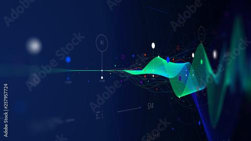 Photo  Big data stream futuristic infographic business analytics presentation, monitor